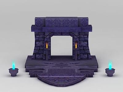 3d游戲場景石門模型