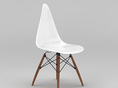 3d北歐塑料木腿休閑椅免費模型