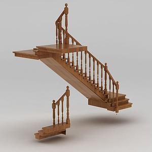 別墅實木樓梯模型