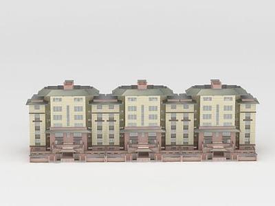 3d小區多層建筑模型