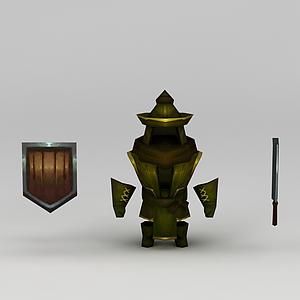 花千骨游戲士兵盔甲模型