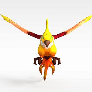 3d黃色飛鳥模型