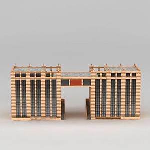 3d小区门口多层建筑模型