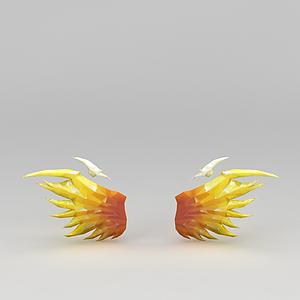 3d游戲裝備黃色翅膀模型
