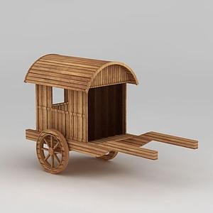 古代木質馬車模型