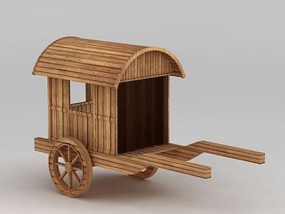 3d古代木質馬車模型