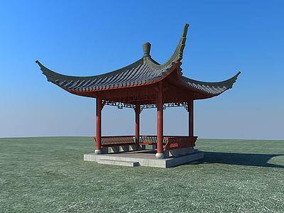 3d古建涼亭建筑模型