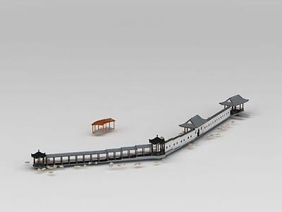 3d古建筑長廊模型