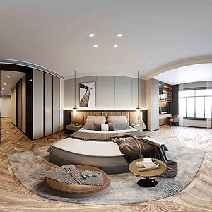 现代轻奢风格全景卧室模型