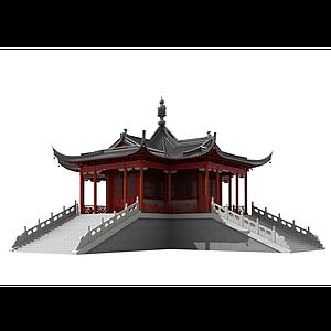 中式古建寺廟佛寺舍利殿3模型