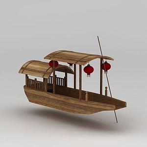掛燈籠古代游船模型