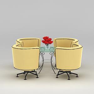 3d黃色休閑桌椅模型