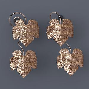 現代鐵藝葡萄葉裝飾掛件模型