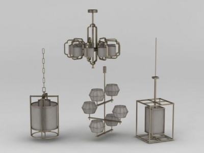 3d中式創意吊燈組合模型