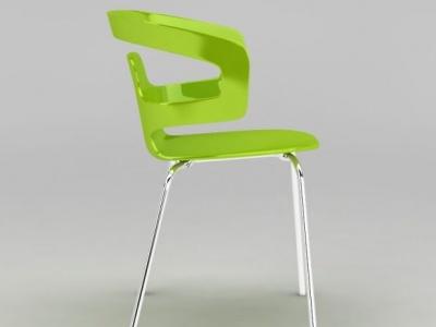 3d現代簡約綠色塑料椅子模型