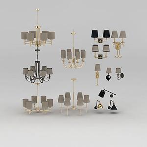 美式吊燈壁燈組合模型