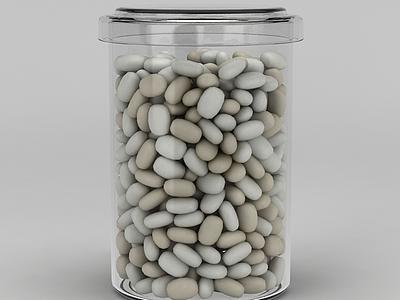 3d塑料瓶儲物罐模型