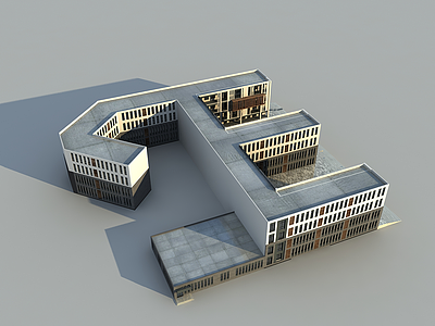 3d現代學校建筑模型