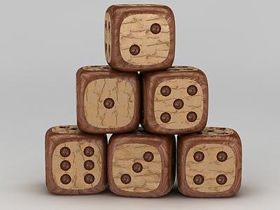 木頭骰子模型3d模型