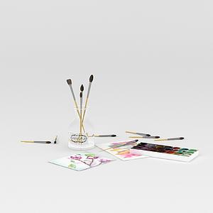 油畫筆調色盤組合模型