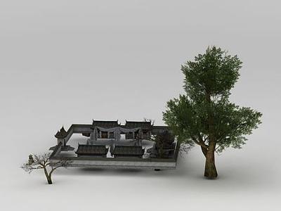 3d游戲場景義莊模型