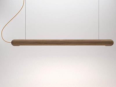 3d現代創意實木燈管吊燈模型