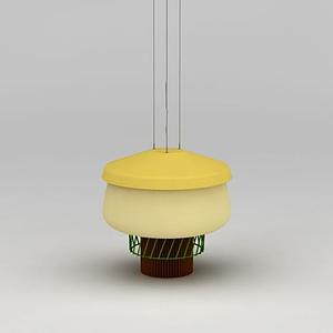 3d現代黃色吊燈模型