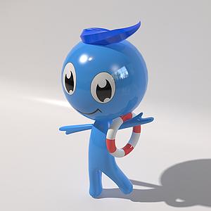 藍色卡通人物吉祥物模型