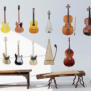 3d乐器组合模型