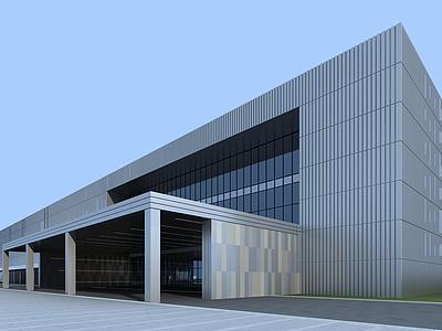 3d現代廠房工業樓建筑模型
