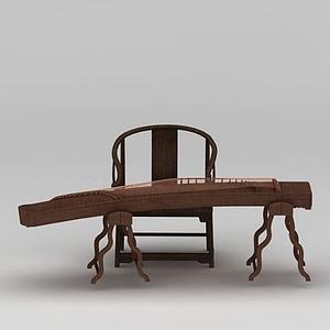 中式古典樂器古箏模型