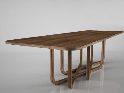 3d創意實木餐桌模型