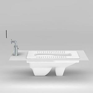 簡約陶瓷蹲便器模型