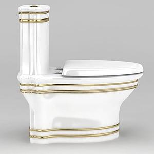 歐式金色線條裝飾馬桶坐便器模型