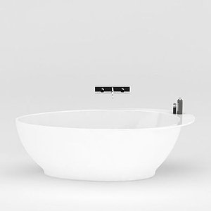 時尚經典白色圓形浴缸模型