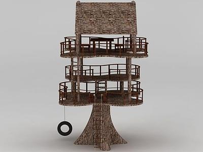 3d創意三層小樹屋休息亭模型