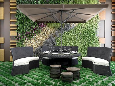 3d戶外休閑桌椅組合模型
