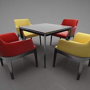 現代風格桌椅模型