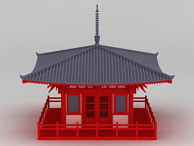3d唐風古建筑休息亭模型
