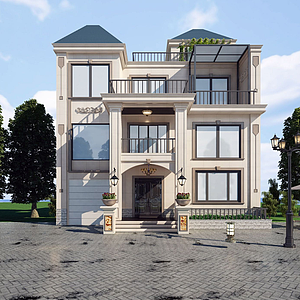 现代风格别墅建筑模型