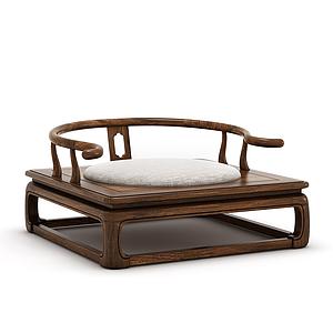 新中式禅意实木圈椅模型