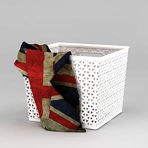 現代白色編織簍臟衣籃模型