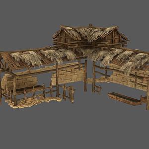 草棚豬棚石墻堆模型