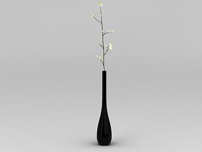 現代黑色花瓶插花裝飾模型3d模型