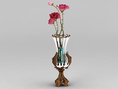 精品歐式花瓶插花擺件模型3d模型