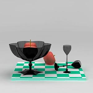 果盤蘋果高腳杯組合模型
