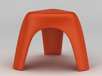 3d現代橙色塑料板凳免費模型