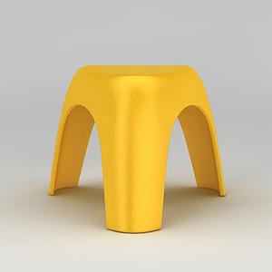 3d黃色塑料板凳模型