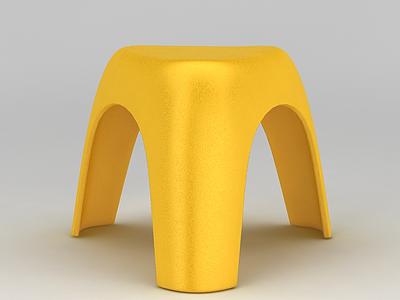 3d黃色塑料板凳免費模型