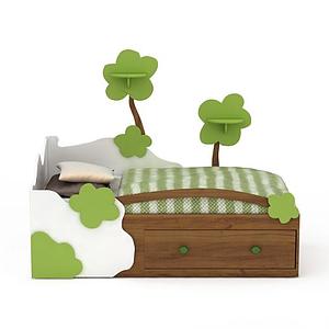 3d現代小型<font class='myIsRed'>兒童床</font>模型